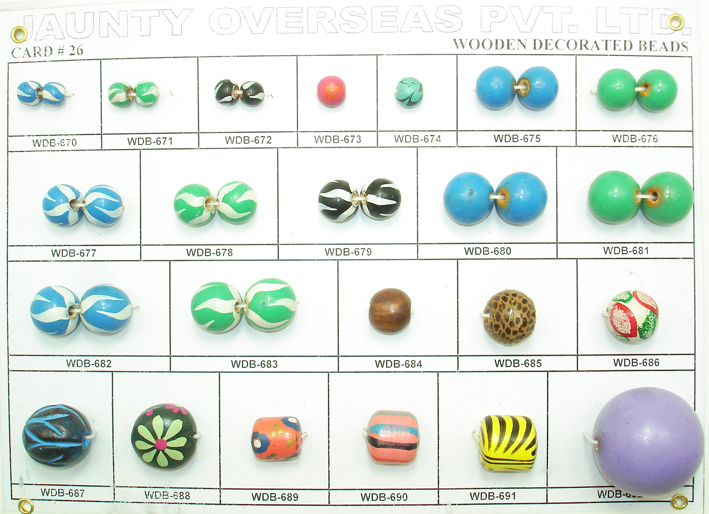 wooden beads cards