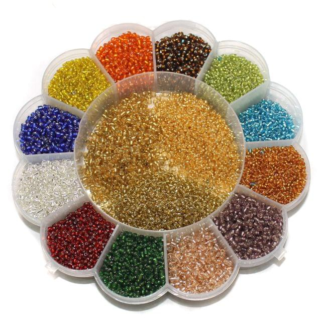 Jewellery Making Silver Line Seed Beads Kit[15 Colors]DIY18-H